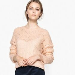 La Redoute Collections Womens Button Back Knit JumperSweater Br  Beige S