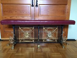Vtg Fireplace Bench Seat Ornate Forged Iron Base W2 Brass Spanish Galleon Shps
