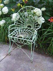 Wrought Iron Patio  Looped Style Chair Metal Lawn Furniture Garden Accents