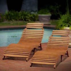 Lawn Chairs Folding Chaise Portable Acacia Wood Furniture (Set of 2)