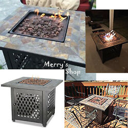 Outdoor Fire Pit Table Furniture Deck Backyard LP Gas Heater Patio Fireplace