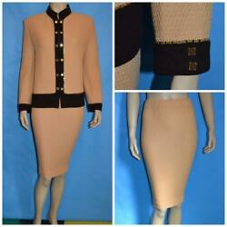 St. John Collection Knits Gold Jacket Skirt L 14 16 2pc Suit Buttons Chain Trims