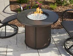 Great Room Stoneware 32 Round Fire Pit Table Heater Modern Patio Flame Propane