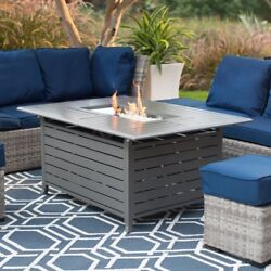Outdoor Fire Pit Large Propane Gas  50 x 38 in. Rectangle  Charcoal Finish