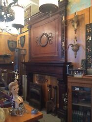 Massive 1899 Beau Arts Chicago Mansion Walnut Fireplace Mantle w Carved Details