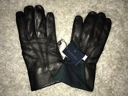 NWT Brooks Brothers Leather Gloves Color Black Cashmere Lined $198