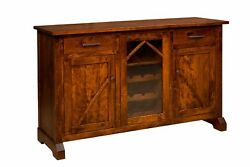 Amish Rustic Transitional Dining Room Sideboard Wine Server Solid Wood 60
