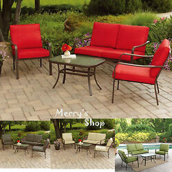 Cushioned 4PC Patio Sofa Set Table Metal Furniture Lawn Garden Outdoor Red