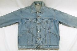 SHE SAID Women's MED Denim Trucker Jean Jacket - Stain on back #H395