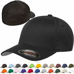 Original Flexfit Fitted Baseball Hat 6277 Wooly Combed Twill Cap Blank Flex Fit $23.84