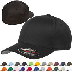 Original Flexfit Fitted Baseball Hat 6277 Wooly Combed Twill Cap Blank Flex Fit $26.49