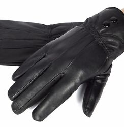 New Women#x27;s Black Winter Warm Genuine Leather Gloves Thermal Insulation Lambskin $11.99