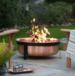 Copper Fire Pit Wood Burning Bowl Backyard Outdoor Patio Screen Cover Grate