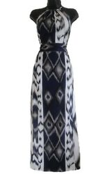 Grey White Geometrical Print Maxi Dress Length Size 10 12 14 GBP 9.99