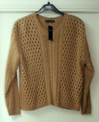 M&S Collection Size 24 Wool Blend Button Back Detail Jumper Bnwt Camel