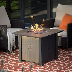 Fire Pit Table Gas Propane Outdoor Patio Cover Square Small Coffee Table Metal