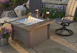 Great Room Pine Ridge Square Fire Pit Table Patio Flame Stained Cedar Wood Top