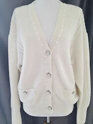CHANEL 2016 BONE CC PEARL CASHMERE CARDIGAN SWEATER JACKET NEW 38 40 42 44 46