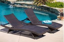 Swimming Pool Patio Furniture Outdoor Chaise Lounge Chairs 2pc - Brown