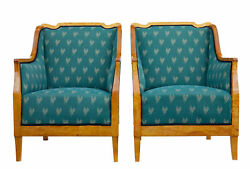 PAIR OF EARLY 20TH CENTURY SHAPED BIRCH ARMCHAIRS