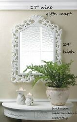baroque Distressed WHITE shabby vintage carved wood bathroom entry Wall Mirror $49.00