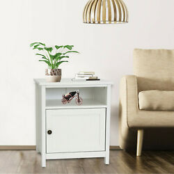 Wooden Bedside Furniture End Table Storage Display Nightstand Drawer Shelf White