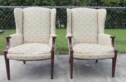 Pair (2) Vintage Antique Carved Tufted Upholstered Classic Wing Chairs #3159