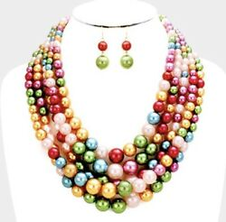 Pink Red Green Blue Chunky Bead Pearl Long Multi Layered Strand Necklace Set