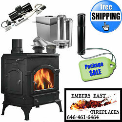 Majestic Dutchwest Non-Catalytic Wood Burning Stove LARGE Cast Iron PACKAGE DEAL