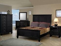 EDITH 5pcs Traditional Black Bedroom Set Furniture w King Panel Mansion Bed NEW
