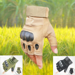 Military Tactical Fingerless Outdoor Motorcycle Hard Knuckle Half Finger Gloves $14.99