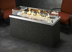 The Outdoor Great Room Key Largo FirePit W SS.Top Black Base Propane Fire Pit