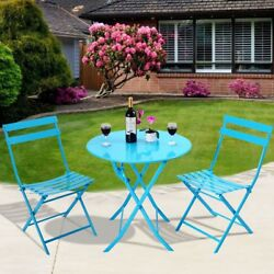 3Pcs Set Outdoor Patio Table Chair Folding Garden Pool Metal Iron Kit Furniture