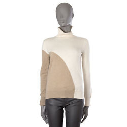 42914 auth LORO PIANA cream white & beige cashmere Turtleneck Sweater 40 S