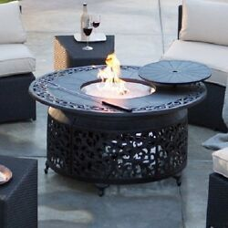 Large Outdoor Fire Pit  48 in. Round Gas Chat Table Rustproof Cast Aluminum New