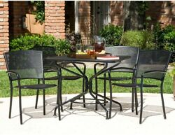 Home Outdoor Wrought Iron Furniture 5Piece Patio Dining Set with Stackable Chair