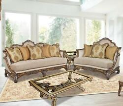 Luxury Pecan Silk Chenille Sofa Chair Table Set 3Pcs Sp Order Benetti's Vivacci
