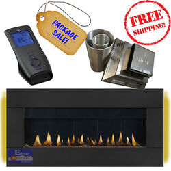 Napoleon PlazmaFire WHD48 Linear Direct Vent Gas Fireplace Halo Lit Package Deal