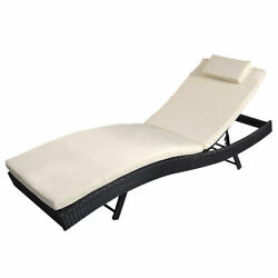 Adjustable Pool Chaise Lounge Chair Outdoor Patio Furniture PE Wicker WCushion