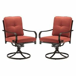 Red Cushion Swivel Chair Patio Seating 2-Piece Set Outdoor Home Furniture Deck