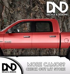Camo Oak Ambush Rocker Panel Wrap Graphic Decal Kit Truck Trees Woods Camouflage