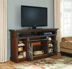 Signature Design by Ashley Alymere TV Stand with Fireplace Option X-Large Rust