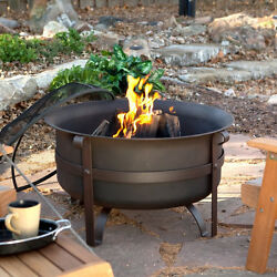 Steel Cauldron Outdoor Fire Pit Home Patio Furniture Heating Deck Wood Burning
