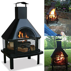 Outdoor Fire Pit Wood Burning Firehouse Chimney Patio Backyard Heater Fireplace