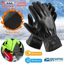 Winter Black Gloves Leather Touchscreen Snap Closure Cycling Outdoor Riding Warm $6.85