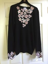 CHANEL 05A NEW TAGS Black Cashmere Sweater Embellished Camelliias FR46-42 $5K