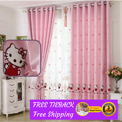Hello Kitty Pink Design Bedroom Door Curtain Fabric Drapes Sheer Net Eyelet Rods