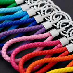 Two Circle Multi-Color Leather Rope Strap Weave Key ring Key chain KeyFob Gift