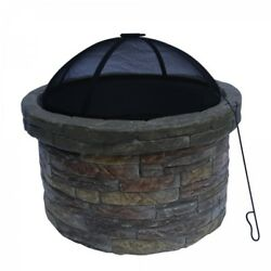 Outdoor Fire Pit Bowl Portable Heater Patio Backyard Fireplace Wood Burning Blac