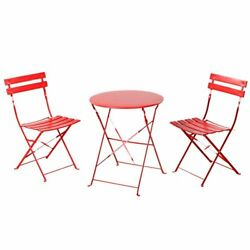 Grand patio Indoor Yard Sturdy Table and 2 Folding Chairs Bistro Sets of 3 Red